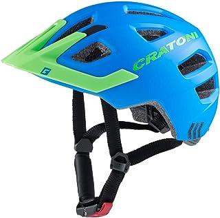 Cratoni Kinderhelm Maxster Pro Fahrradhelm Kinderhelm Jugendhelm mit Rücklicht blau grün, S/M 51-56 cm