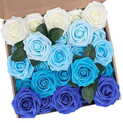 N&T NIETING Künstliche Blumen Rosen, 25 Stück Deko Blumen Fake Rosen mit Stielen DIY Hochzeit Blumensträuße Braut Zuhause Dekoration, Serie B Blau
