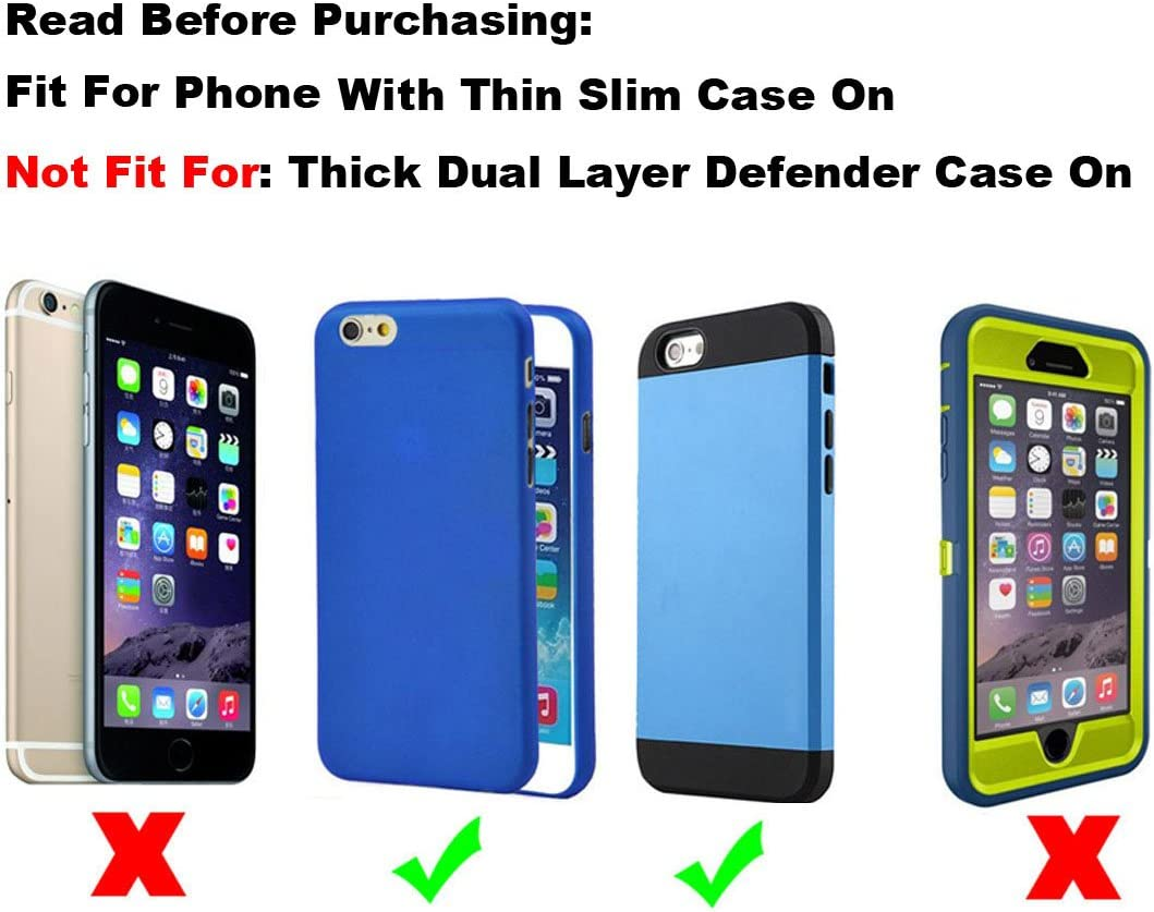 Yuzihan Genuine Leather Holster Fit for iPhone 12 Pro Max iPhone 11 Pro Max Holster iPhone Xs Max Holster 8 Plus 7 Plus 6 Plus Belt Holster Pouch for Phone with Slim Case On