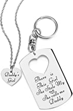 ELOI Father Daughter Gifts, Daddys Girl Necklace, Gift for Daughter,There's This Girl Who Stole My Heart She Calls Me Daddy Keychain Christmas Father's Day Jewelry Set