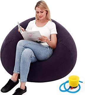 Bean Bag Gamer Recliner, Outdoor Inflatable Lazy Sofa Washable Living Room Lounger Bedroom Bean Bag Chair Ultra Soft No Fi...