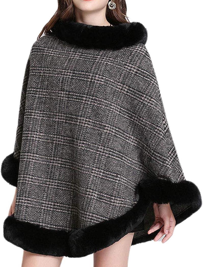 Helan Women's Round Neck Faux Fox Fur Cloak Checked Pattern Faux Fur Cape Coat