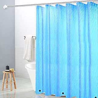 Wimaha Waterproof Shower Curtain Liner, with 3 Magnets & Rustproof Grommets 3D Effect Bath Curtain for Bathroom Stall Bathtub Tub, 72 x 72, Blue Ripple Design