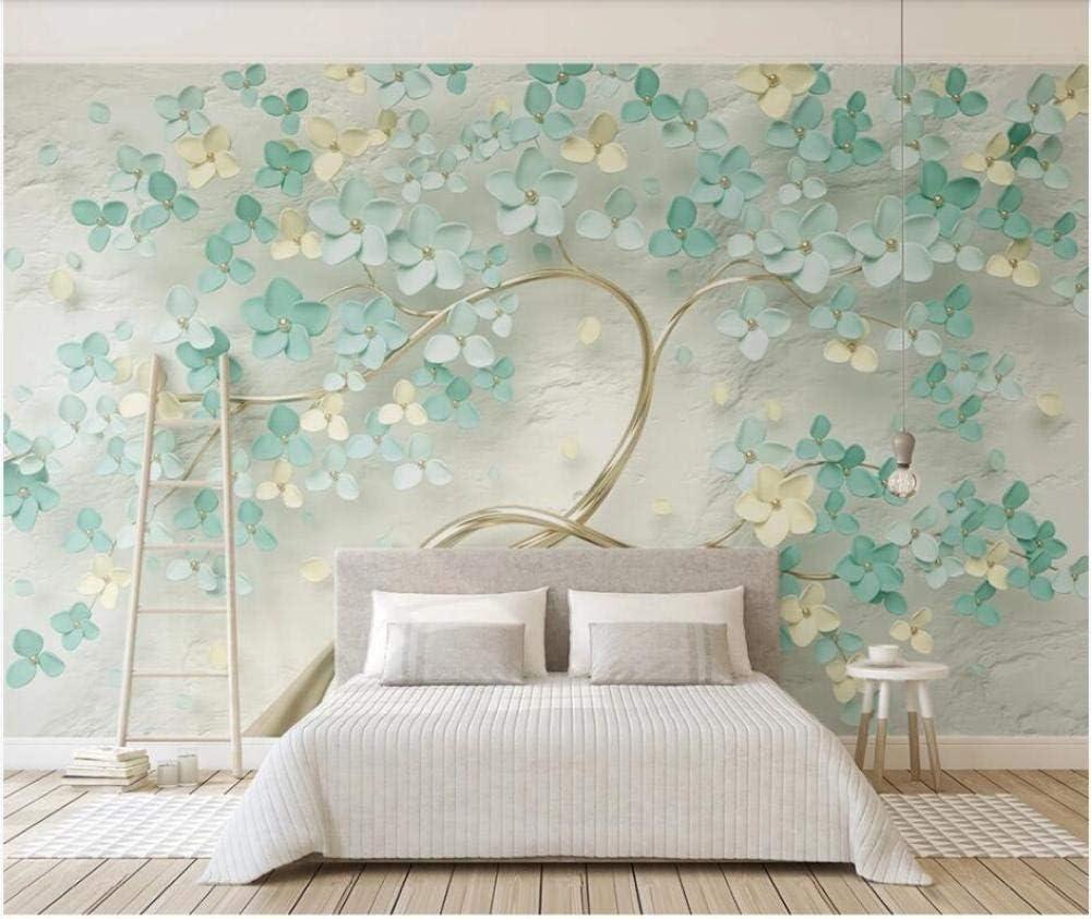 Amazon Ljjlm 写真の壁紙カスタム壁画新鮮なミントグリーンの花テレビの背景家の装飾リビングルームの壁紙用壁 160x1cm 壁紙