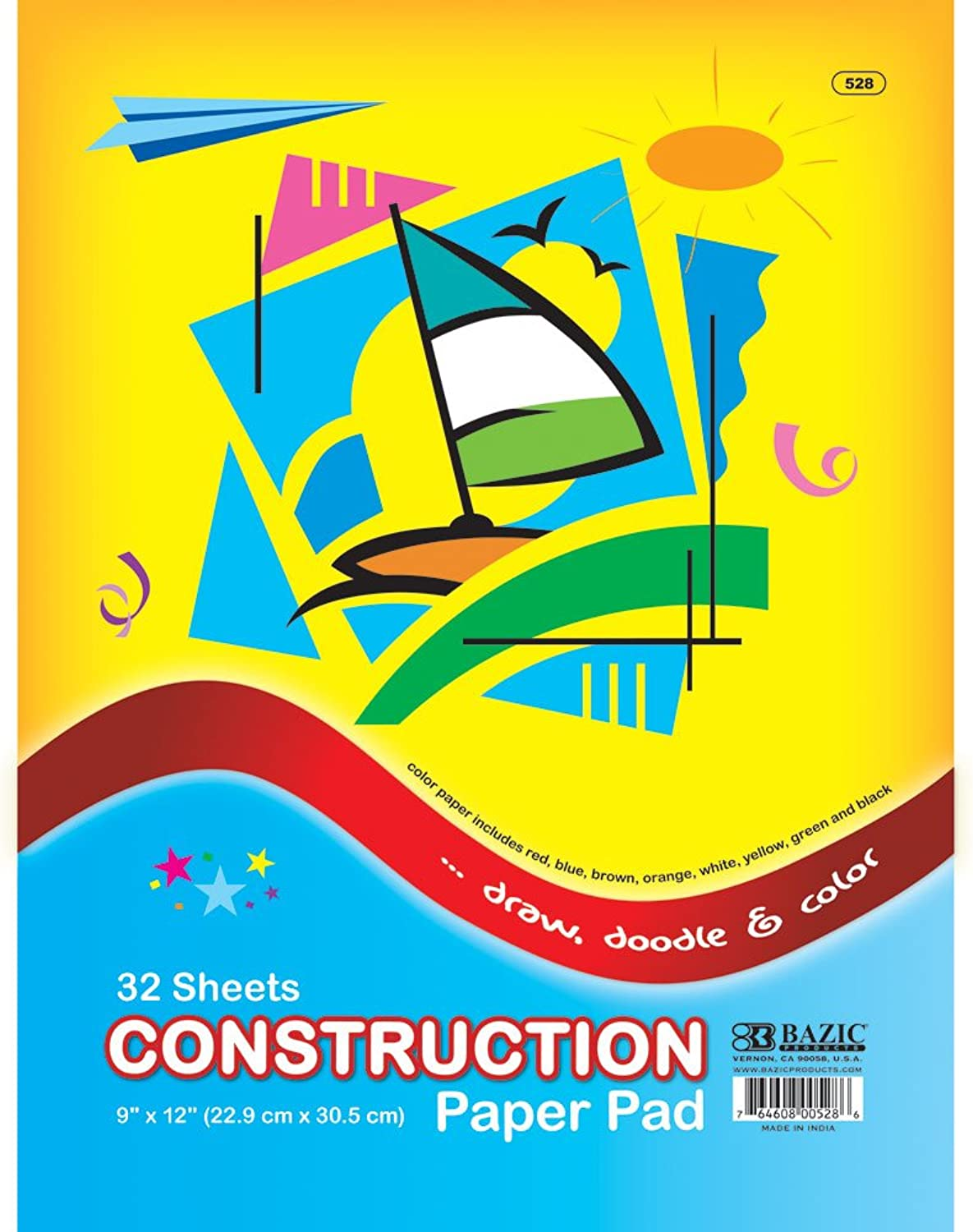 BAZIC 32 Ct. 9  X 12  Construction Paper Pad (Case of 48)