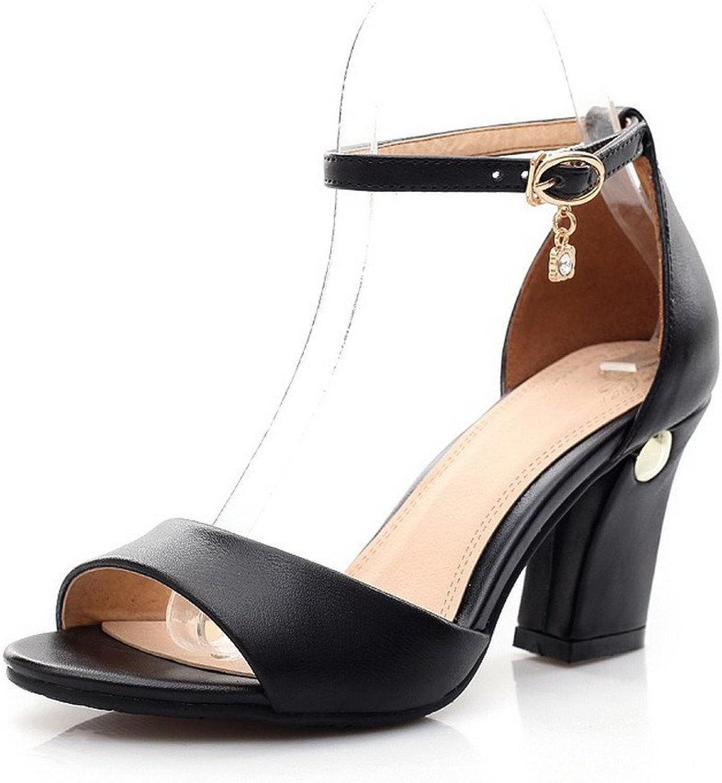 WeiPoot Women's Buckle Open Toe High Heels Solid Sandals