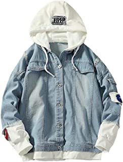 GAGA Men's False Two Hooded Loose Fit Jacket Coat Destroyed Distressed Ripped Denim Coat