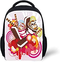iPrint Kids School Backpack Ice Cream Decor,Mixed Yummy Desserts with Exotic Flowers and Flavors Summer Tropical Theme Decorative,Multicolor Plain Bookbag Travel Daypack