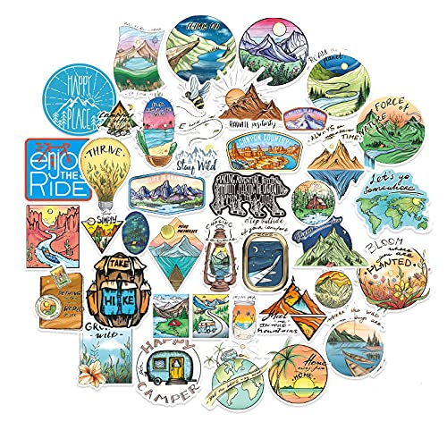 Outdoor Camping Scenery Travel Small Stickers Personality Retro Literature and Art Skateboard Backpack Helmet Locomotive Decoration Stickers 40