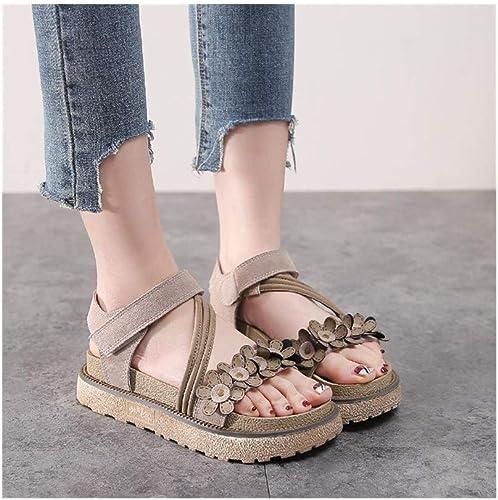 YFH Sandalias de Cabeza rojoonda plataforma Gruesa zapatos de la Torta Floral zapatos de Las mujeres Salvajes (de Color Caqui) (Color   Camello, Talla   40)
