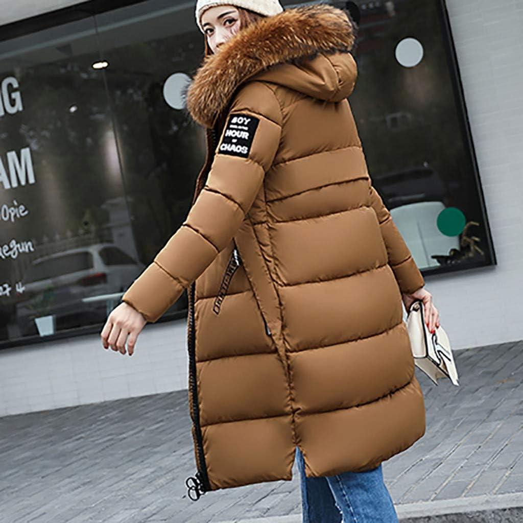 VEKDONE Women Thickened Down Jacket Warm Hooded Winter Coat Plus Size Cotton Zip Up Overcoat Puffer Jacket