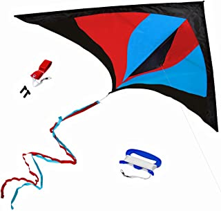 Best Delta Kite, Easy Fly for Kids and Beginners, Single Line with Tail Ribbons, Stunning Multi-Colors, Materials, Large, ...