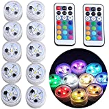 Mini Submersible Led Lights with Remote, Small Underwater Tea Lights Candles Waterproof 1.5' RGB Multicolor Flameless Accent Lights Battery Operated Vase Pool Pond Lantern Decoration Lighting (10pcs)
