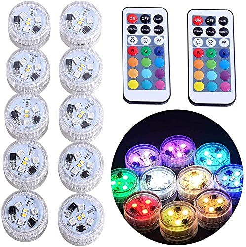 10x Luces LED Sumergible, Multicolor Impermeable Luz acuáticas Subacuáticas Velas sin llama Alimentado por Batería con Control Remoto para Florero Cuenco Linterna Estanque Piscina