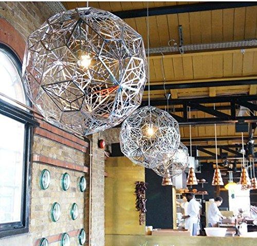 Gowe Etch Web Suspension Lampe Diamètre 40 en cuivre Argent salle à manger Restaurant en acier inoxydable Suspension Luminaire Couleur du corps : Profondeur en cuivre