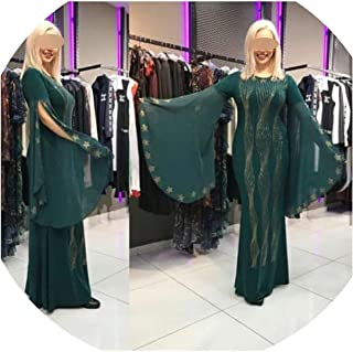 African Dresses for Women African Clothes Slim Ruffle Sleeve Robe Evening Long Dress