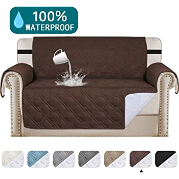 """Amazon.com: Turquoize 100% Waterproof Sofa Cover For Pets Leather Couch Covers Slip Resistant Waterproof Couch Protector Quilted Non Slip Furniture Covers For Living Room Protector Cover (Loveseat 54"""", Brown): Furniture & Decor"""