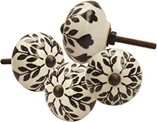 Thanksgiving Christmas Day Best Gifts - abhandicrafts - Set of 4 Ceramic Door Knobs, Black and White Floral Hand Painted Ceramic Pumpkin Cupboard Wardrobe Cabinet Drawer Door Handles Pulls Knob