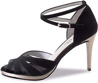 Anna Kern Femmes Chaussures de Danse 910-80 - Suéde Noir - 8 cm Stiletto - Plateau
