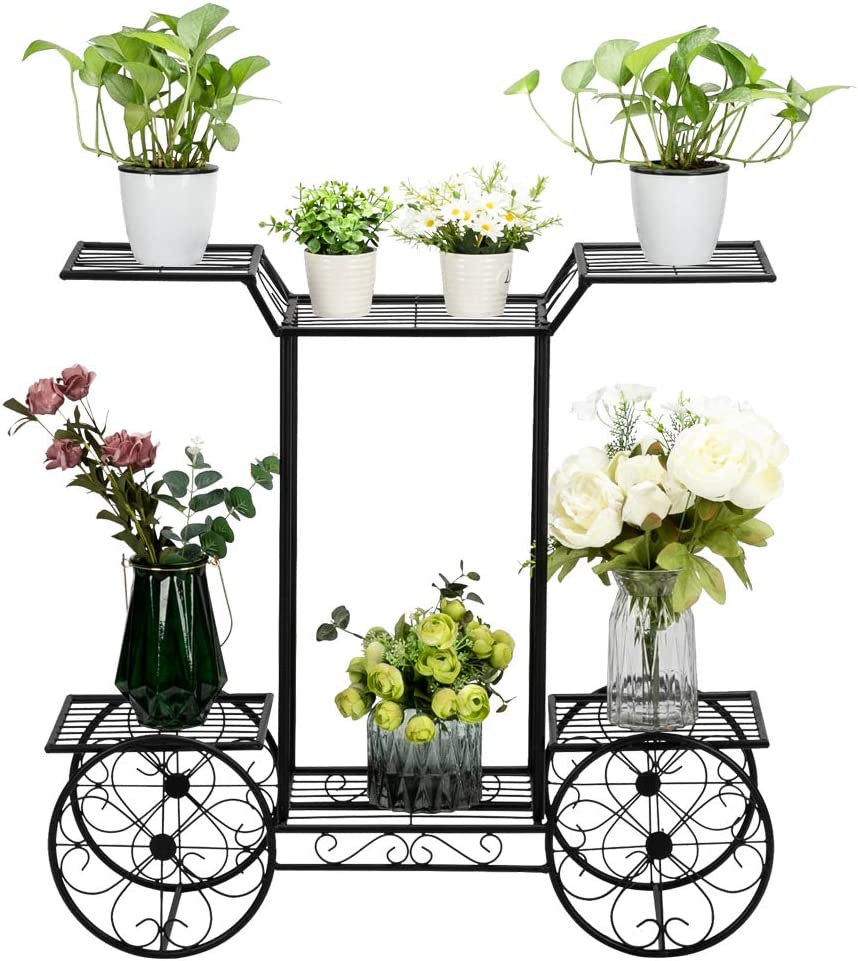 ZFRANC Max 68% OFF Pot Stand Popular brand in the world Display Paint with Handle 2 Layer Cart Shape Pl