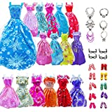 AMETUS 30 PCS Doll Clothes Accessories, 6 Gown Dresses, 4 Litte Dresses, 10 Shoes, 4 Glasses, 6 Necklaces, for 11.5 inch Dolls, Birthday Girl Gift