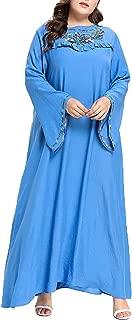 UAime Kaftan Maxi Long Floral Print Long Sleeve Flowy Casual Summer Dress Women Long Gown Evening Prom Maxi Dress