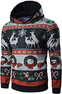 ab5331845e37d Hoodie Noël Homme Pull Renne,Overdose Hiver Manches Longues Pullover  Jacquard Casual Sweatshirt Blouse
