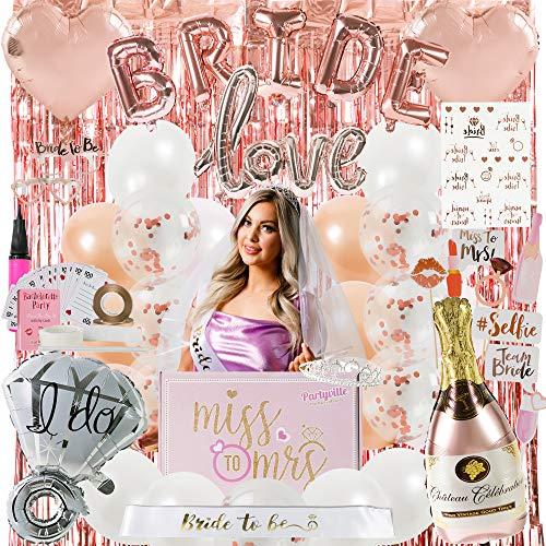 Partyville Bachelorette Party Decorations - 120 Pc Bridal Shower Decorations w/Bride to Be Sash, Bride Balloons, Bachelorette Veil, Bride to Be Sash and Tiara - Bachelorette Decorations Naughty