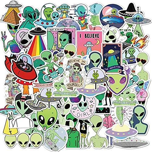 100PCS 10/30 / 50pcs Alien UFO Dibujos Animados Graffiti Trolley Scooter Ordenador portátil Phone Móvil Teléfono Impermeable Etiqueta Etiqueta Venta al por Mayor estéticas (Color : 10PCS)