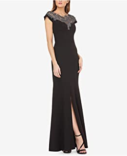 JS Collection $298 Womens New Black Slitted Lace Neck Stretch Crepe Gown 12 B+B