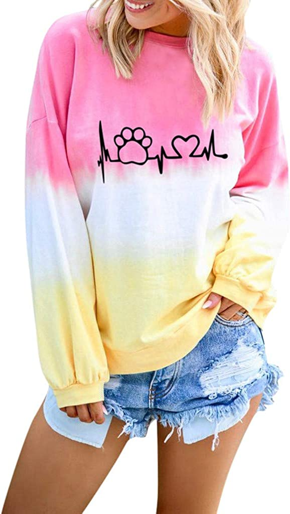 AODONG Sweater for Womens Long Sleeves Cute Claw Heart Printed Color Block Sweatshirts Pullover Tops Blouse