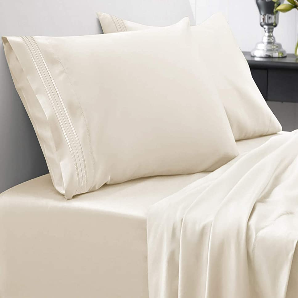 屈辱するびんスロベニアSweet Home Collection 1800スレッドカウント エジプト品質 起毛マイクロファイバー 4ピース ディープポケットベッドシーツセット Split King 15TC-SPLTK-IVR