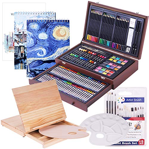 165 Piece Deluxe Art Set with 3 Drawing Pads,1 Wooden Drawing Easel with Drawer, Painting & Drawing Set That Contains All The Additional Tools You Need
