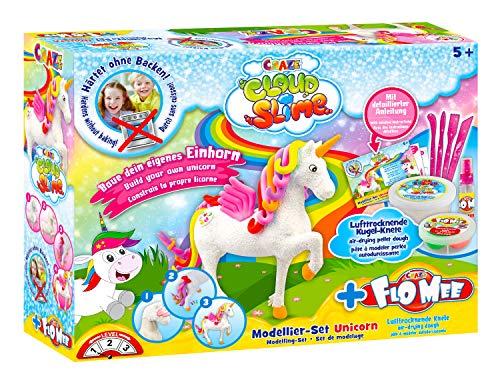 Craze 15759 Einhorn Flo Mee und Cloud Slime Modellier Set Unicorn, Bunte knete