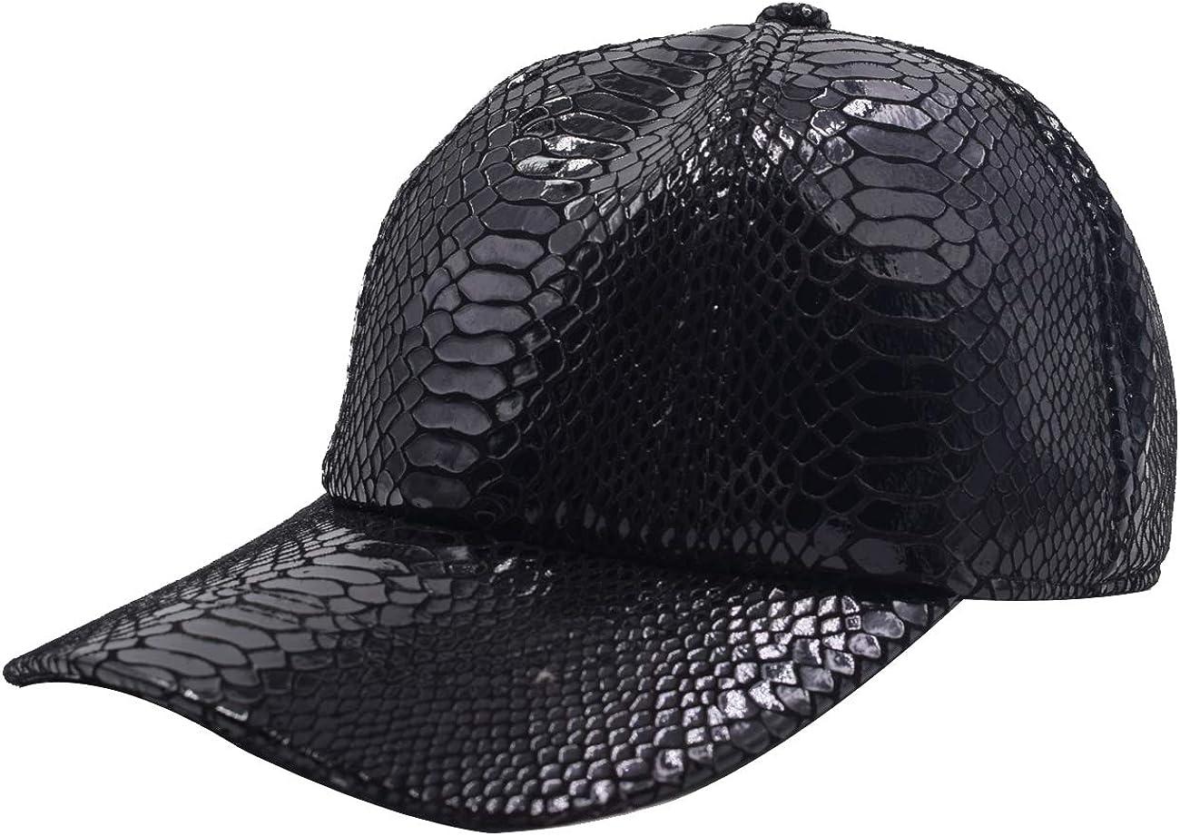 Yosang Men Women Snakeskin Print Leather Baseball Cap Adjustable Dad Hats
