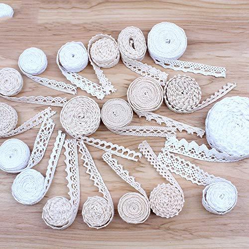 HL-PYL 30yards Mix Weiß Beige Baumwolle Spitzenborte DIY Nähen Patchwork Handmade Cotton Material Hometexile Sofa Wrapping Band Trimming,mischen weiß beige
