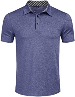 Ptyhk RG Men's Leisure Slim Fit Summer Solid Color Short Sleeve Polo T-Shirt