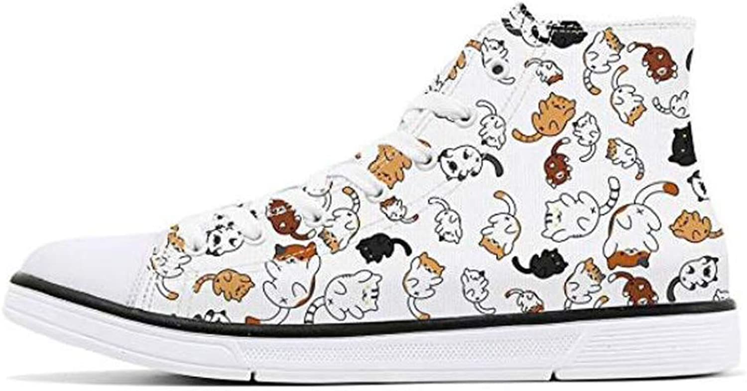 FIRST DANCE shoes for Women Animal Printed shoes High Tops Ladies Cute Cat shoes for Women Spring shoes Cat Dog Print shoes for Women