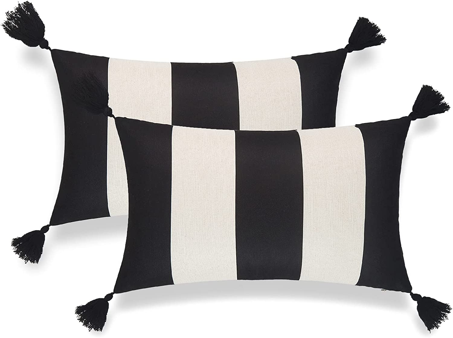 Hofdeco Modern Boho Patio Indoor Outdoor Lumbar Pillow Cover ONLY for Backyard, Couch, Sofa, Black Stripes, 12