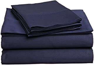 Luxury Hotel Soft Cotton Sheets Navy Blue Solid 4-Piece Queen Bed Sheet Set , Sateen Solid, Fitted Sheet Fit up to 25 Inches Deep Pocket.