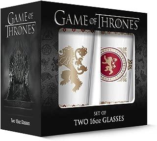 PB Licensing 2-Piece Game of Thrones Pub Glass Lannister Set, 16 oz