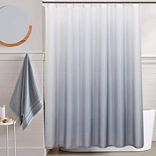jinchan Waterproof Shower Curtain for Bathroom Gradual Color Ombre Textured Shower Curtain with Rings 1 Panel 70W x 72L inches Grey