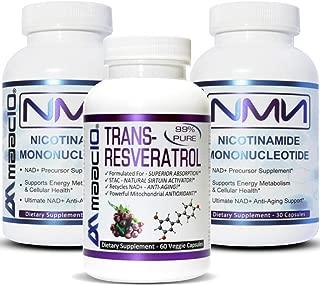 MAAC10 NMN & Resveratrol Combo Pack   NAD+ Supplements   250mg NMN & 500mg 99% Resveratrol Serving   2 of Bottles 125mg NMN Nicotinamide Mononucleotide & 1 Bottle 500mg 99% Pure Trans Resveratrol.