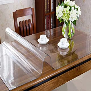 OstepDecor Custom 2mm Thick Crystal Clear Table Protector for Dining Room Table - 84 x 44 Inch Kitchen Wood Grain Vinyl Transparent Table Cover Plastic Protective Table Pad