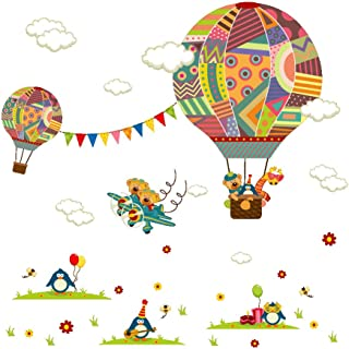 Amaonm Creative Cartoon 3D Hot air Balloon Aircraft Animals and Clouds Wall Decals Stickers - Peel and Stick Removable DIY Vinyl 3D Wall Art Decor for Nursery Room Kids Bedroom Living Room Classroom
