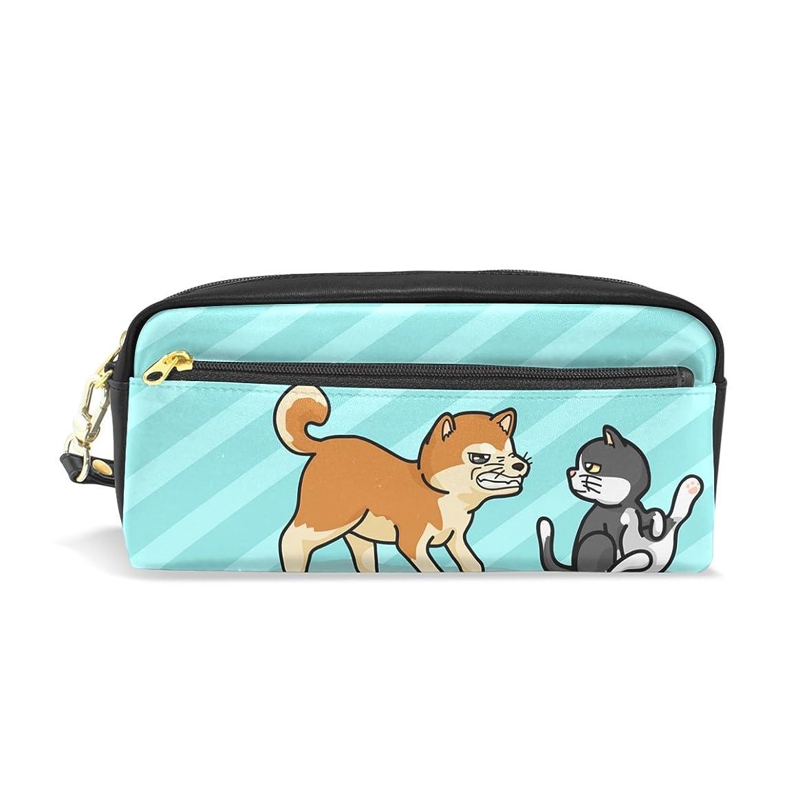 大胆すべてところでAOMOKI ペンケース 化粧ポーチ 小物入り 多機能バッグ 男女兼用 柴犬 猫