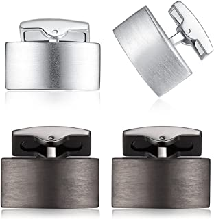 ازرار اكمام للرجال من هوني بير - مصنوعة من الستانلس ستيل والفضة المصقولة بشكل مستطيل، هدية للزفاف والعمل