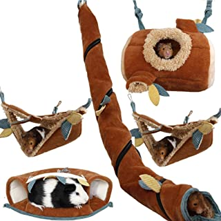 Yu-Xiang 5 Pcs Forest Sugar Glider Hanging Cage Accessories Set Leaf Wood Design Small Animal Hammock Channel Ropeway Nest...