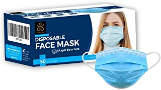 Samadhaan Face Mask (Pack of 50) Non Woven Thick 3-Layer Breathable Face Masks with Adjustable Earloop, Anti Droplets, Mou...