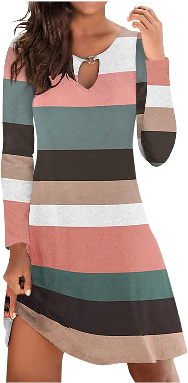 Hemlock Women Long Sleeve Dress Floral Print Tunic Dresses Slim Shirt Mini Dress Beach Sundress